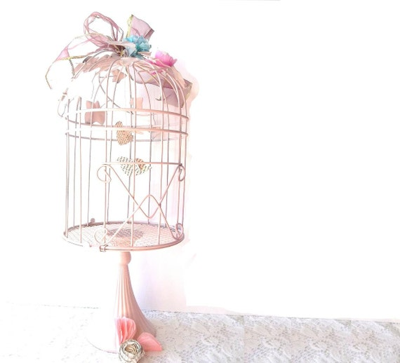 Wrought Iron Victorian Pink Shabby Chic Birdcage. Altered Art Love Birds. Cottage Shabby Chic Decor. Gift. Bridal.