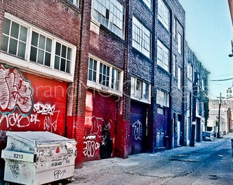 Urban alley Photography san francisco industrial city street life graffiti tags red blue windows hidden reality - The breakdown - fine art