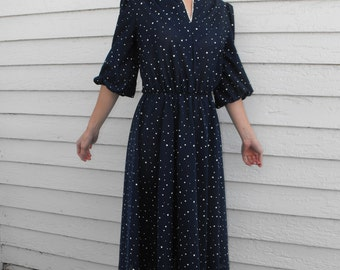 Retro Blue Print Dress 70s 80s Vintage Secretary Casual M