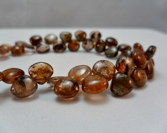 Gemstone Bead, Andalusite,Smooth Heart Briolette bead 5x6mm, 4inch strand