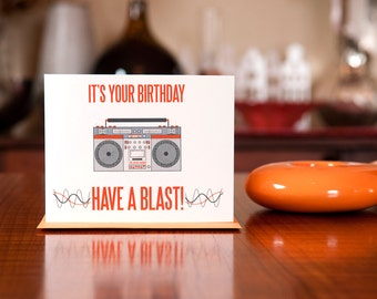 Have a Blast - Retro Boombox Birthday Card on 100% Recycled Paper