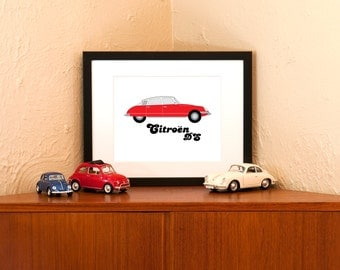 Vintage Red Citroen DS Art Print - 8x10 with Free Shipping in US