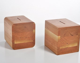 Gentlemans Coin Bank in American Cherry - Great 5th Anniversary Gift For Him.