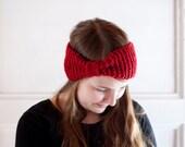 Red turban headband hand knit in chunky woolblend yarn Christmas red