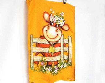 Cute Cow Linen Tea Towel - Sunshine Yellow Vintage Kitchen Towel - Cartoon Cow
