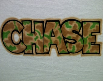Your Name Airbrushed in Camo Shirt size S M L XL 2X Airbrush T-Shirt