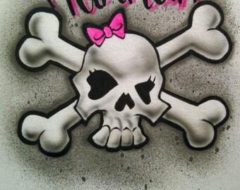 Airbrush Girl Skull & Cross Bones with Name Shirt Airbrushed T-Shirt