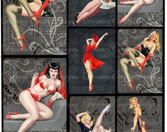 Vintage Pin Up Girl Collage Sheet - CS6 - Instant Digital Download - Bonus Sheet My Treat