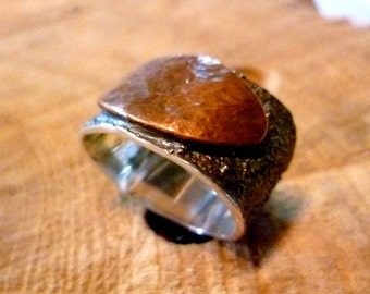 copper point ring sterling silver