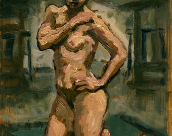 Figure Painting, Kneeling Female Nude. Small Original Oil Sketch on Panel, Realist Figure Painting