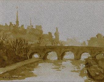 Pont Neuf, Paris. Original Pen and Ink Drawing, Small Plein Air Impressionist Sketch on Toned Paper, Signed Original 5x6 Realist Fine Art