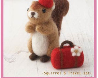 DIY handmade Wool Felt kit Squirrel & Travel set -  Japanese kit package