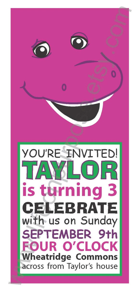 Barney and Friends Birthday Party Invitation