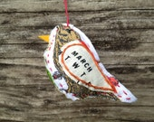 Bird Ornament - March - Repurposed Vintage Calendar Tea Towel - Hand Embroidered