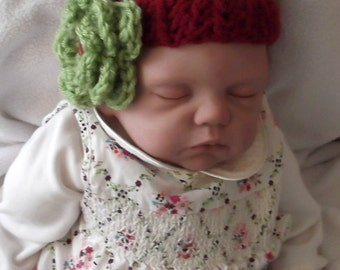 Burgandy...Handcrocheted Headband...Layered Pistachio Green Flower..Beautiful Colors....All seasons..3 up to 6 month size..Ready to Ship