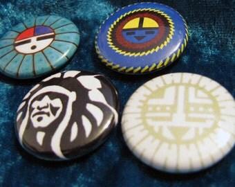 Faces Native American Button Set