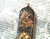 Antiqued Copper Clockwork Clutter Steampunk Oval Necklace
