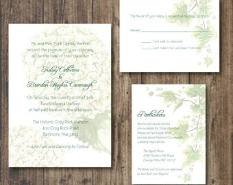 Printable WEDDING Invitations, RSVP card and Particulars, Natural, Rustic