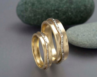 Gold River Wedding Band Set - Love is a River Rings in Solid 14k Gold