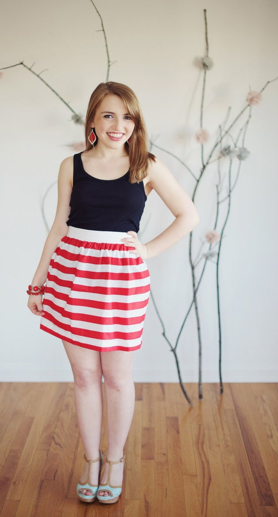 Red and White Stripes Skirt Candy Stripe Skirt Candy Cane