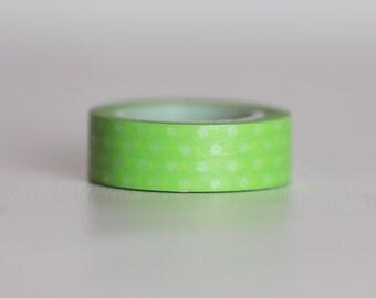 Green Apple Polka-Dot Washi Tape-  Single Roll 10 mm