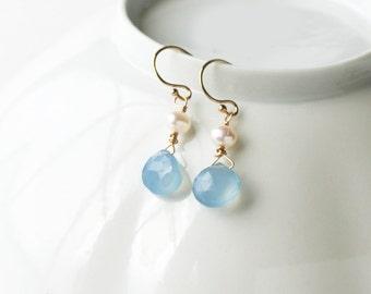 Pale Blue Earrings, Bridesmaid Jewelry, Drop Earrings