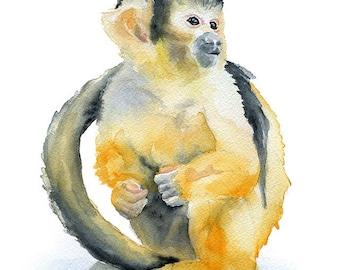 Monkey Watercolor Painting Giclee Print 8 x 10 - Squirrel Monkey Art (8.5 x 11)
