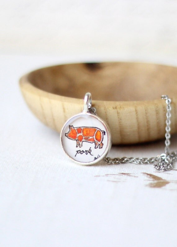 Delicatessen necklace, butcher diagram jewelry, pork cuts of meat pendant, bacon necklace, illustration LIMITED EDITION