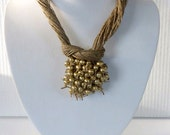 Golden Pearls Macrame Necklace Linen necklace