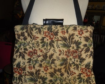 """Vintage Tapestry """"Knitility"""" Tote"""