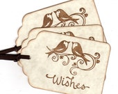 50 Wedding Wish Tags / Wedding Tags / Favor Tags  Love Birds / Escort Tags / Place Cards / Hang Tags Handmade Vintage For Wishing Tree