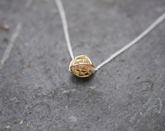 GOLD Knot on silver chain necklace, Love knot necklace, modern necklace, everyday necklace, love necklace, bridesmaid necklace