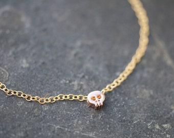ROSE GOLD skull bracelet, mini rose gold skull bracelet, gold bracelet