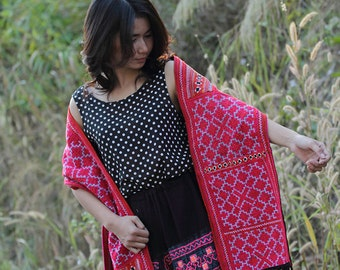 100 percent cotton thread shawl/scarf with hand woven embroidery