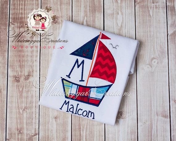 Sail Boat Shirt, Custom Embroidered shirt, Baby Boy Summer Outfit, Baby Cruise Outfit, Boat Shirt, Boys Boat Shirt, Summer Shirt