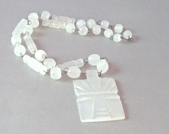 Carved White Agate Necklace// Crystal Quartz Warrior God Necklace