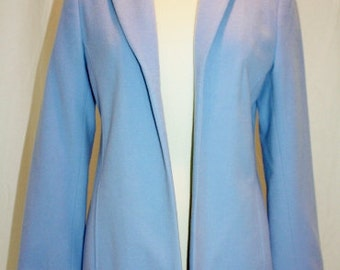 Sky Blue Jacket Lined Fitted Wool Nylon Cashmere Blend Vintage 1994 Hipster Office Teacher Size 6 Small