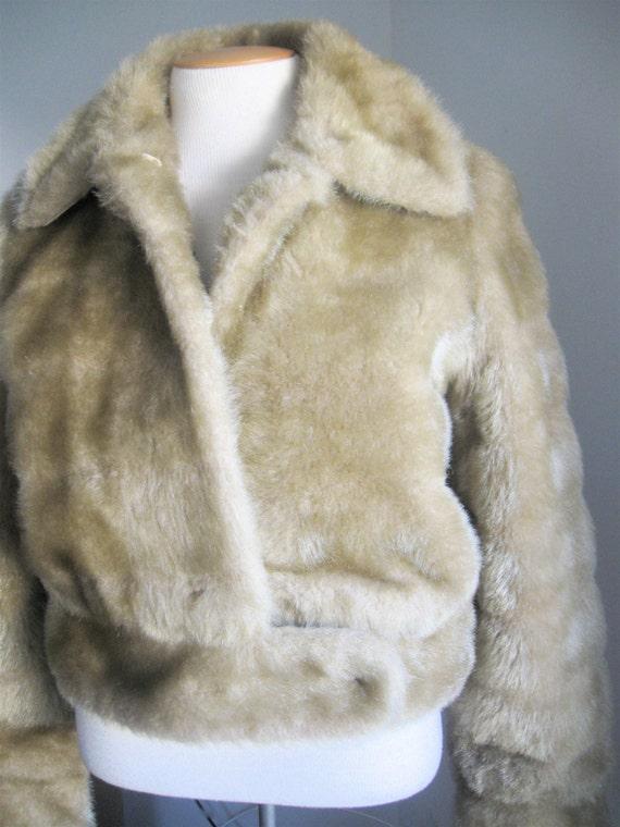 Vintage 70's Fabulous Salvini Faux Fur Jacket Champagne Color Pam Grier Foxy Brown Get Christie Love Teresa Graves Disco Funky