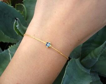 Gold Chain Evil Eye Bracelet - Tiny Evil Eye Bead Bracelet
