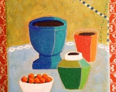 5x7 Painted Pottery Color Block No 4- original mod colorful still life small painting