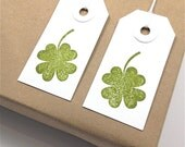 Lucky Four Leaf Clover Shamrock Gift Tags - St. Patrick's Day - Distressed Green Ink on Small White Card Stock - Handmade - Set of 10