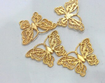 10 Gold Butterfly Charms, Gold Plated Brass G340