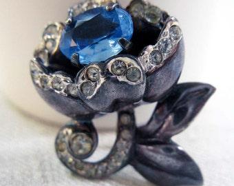 Antique Art Nouveau Flower Pendant, Blue Rhinestone and Sterling Silver Pendant, 1920s, 1930s