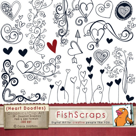 Heart Doodle Clip Art Photoshop Brushes & Printable by ...