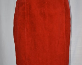Womens High Waist Red Suede Skirt