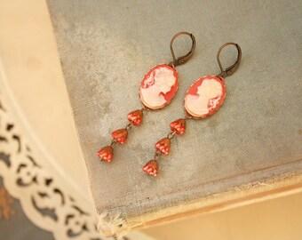 Moroccan Red Flowers Dangling from Carnelian Girl Cameo Earrings