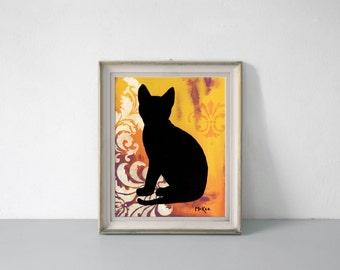 Cat Art Print, Silhouette Wall Decor, 11 x 14 inches