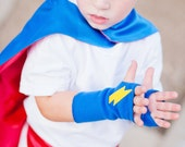 READY TO SHIP - Childrens Superhero Accessory - Lightning Bolt Fingerless Gloves Set - Hero Arm Bands - 18 Combinations - Halloween Ready