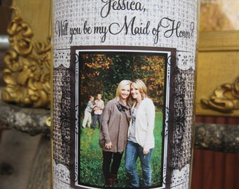 Will you be my....  Wine Bottle Labels - bridesmaid, maid of honor, etc. wedding - waterproof sticker - burlap and lace