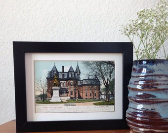 Edward Little High School, Auburn, Maine - framed vintage postcard